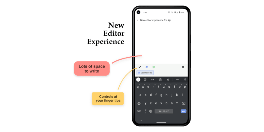 Journalistic UX example for text input with controls