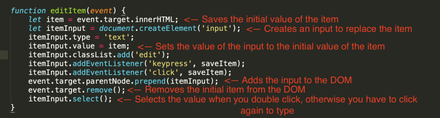 Steps for the 'editItem' function