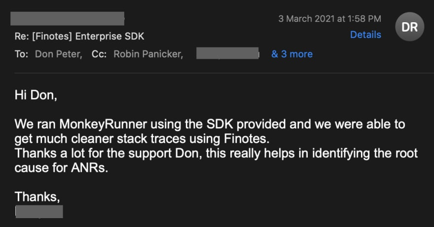 Mail from an Android developer about how Finotes helped him fix ANR