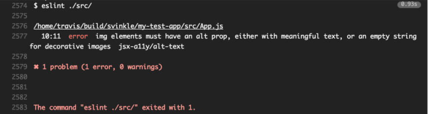 Screenshot of the Travis CI output window with the following message: 10:11 error img elements must have an alt prop, either with meaningful text, or an empty string for decorative images. jsx-a11y/alt-text. 1 problem (1 error, 0 warnings)