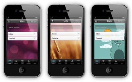 Wunderlist app for iPhone.