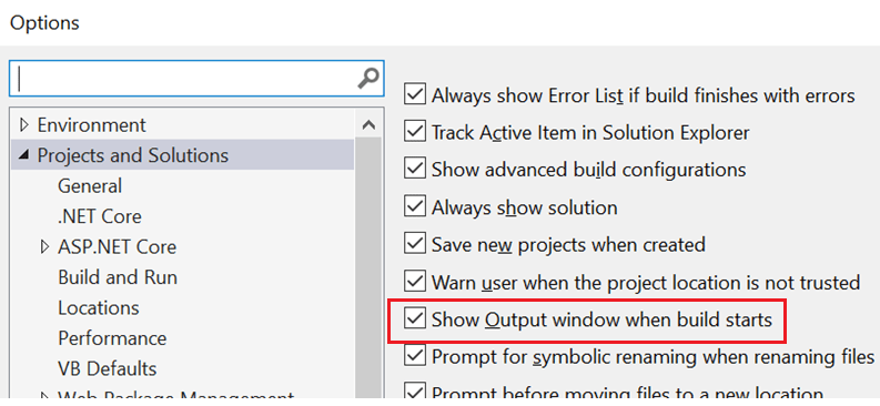 Enabling Automatic Show Output Window Option.