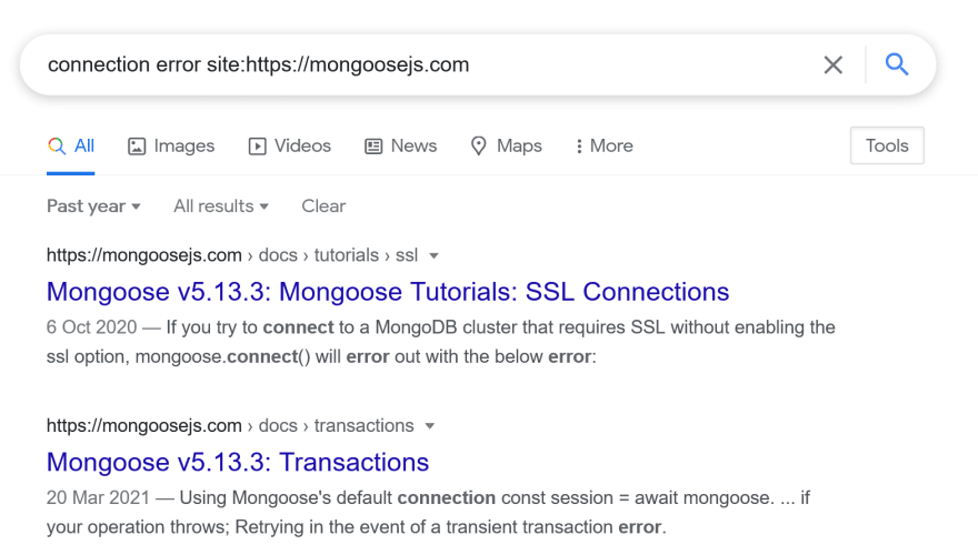 Google search within Mongoose.js documentation