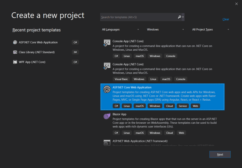 Create a new project dialog with ASP .NET Core Web Application selected