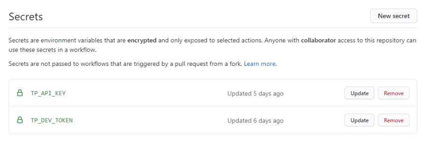 Secrets panel in the GitHub Repo