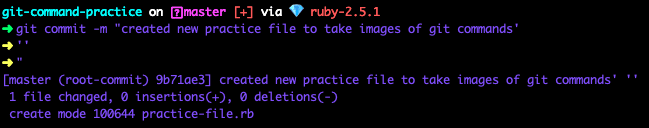 """terminal screenshot of git commit -m """"created new practice file to take images of git commands'''"""""""