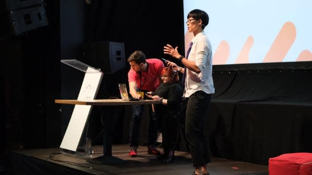 On stage at CSSConf Budapest