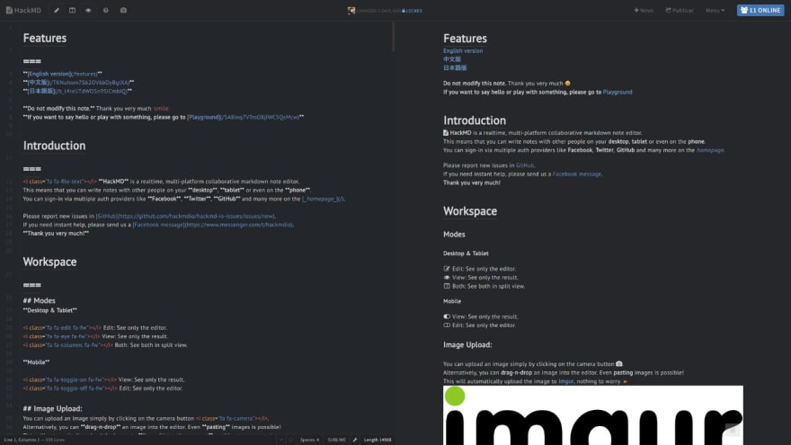 Dark HackMD w/ Realtime Preview