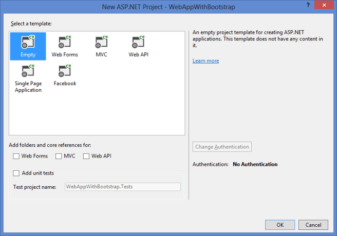 select empty project template