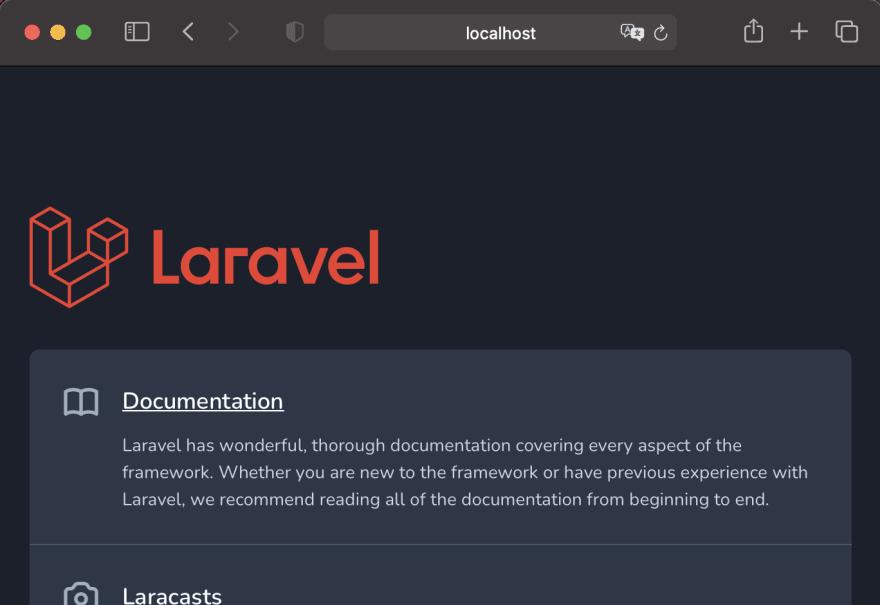 kool laravel welcome screen