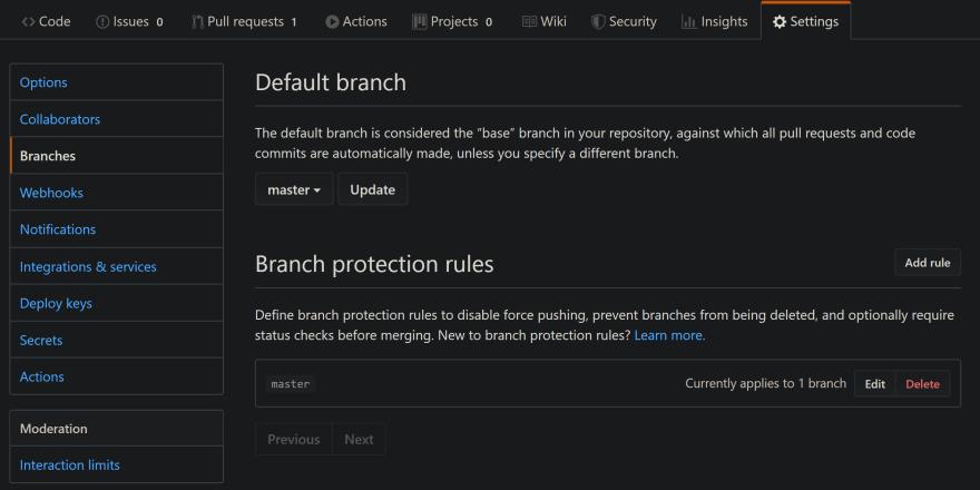 Github Settings > Branch