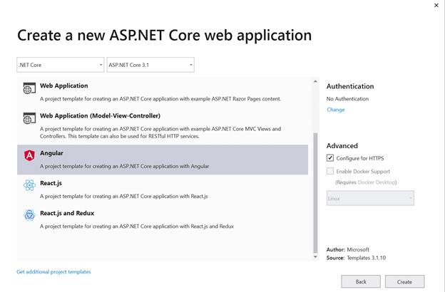 Create a New ASP.NET Core Web Application Dialog