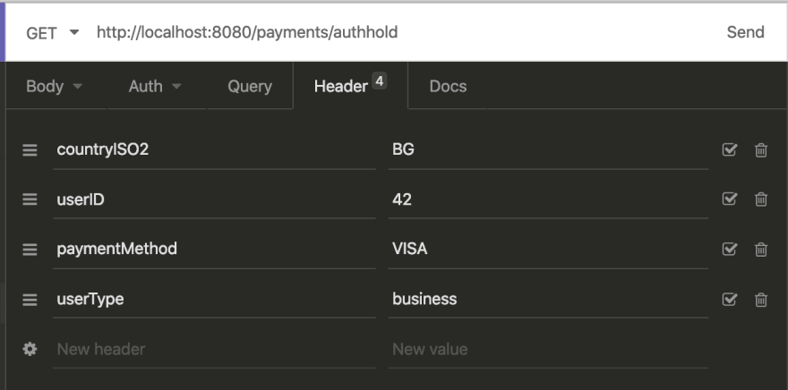 payments/authhold endpoint parameters