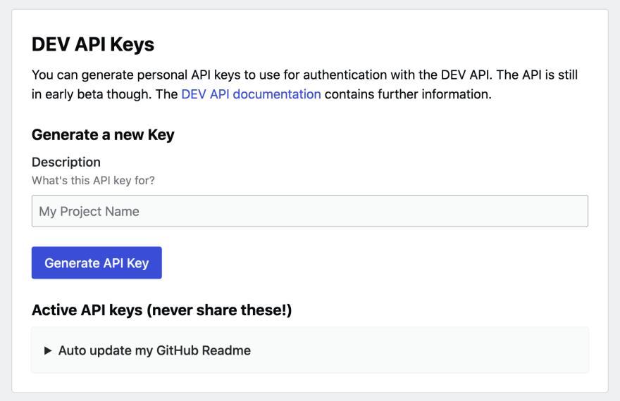DEV.TO API key