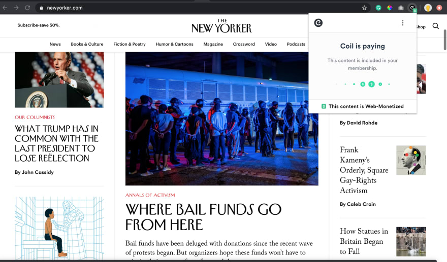 The new yorker is web monetized