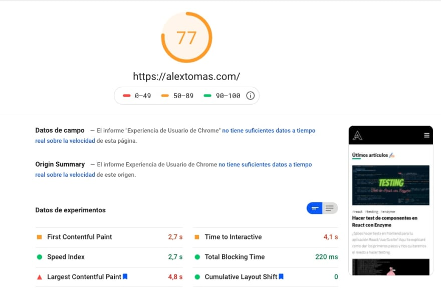 PageSpeed Insights móvil