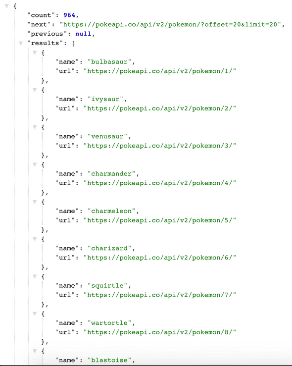 Poke API json response