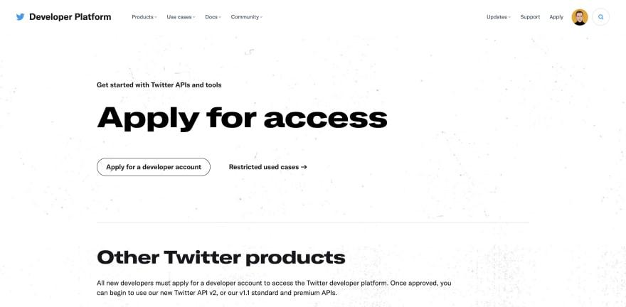 twitter developer account