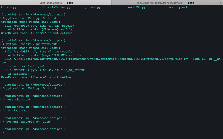 Dustin's terminal with teal-ish text on a black background. Some Python stack traces are shown