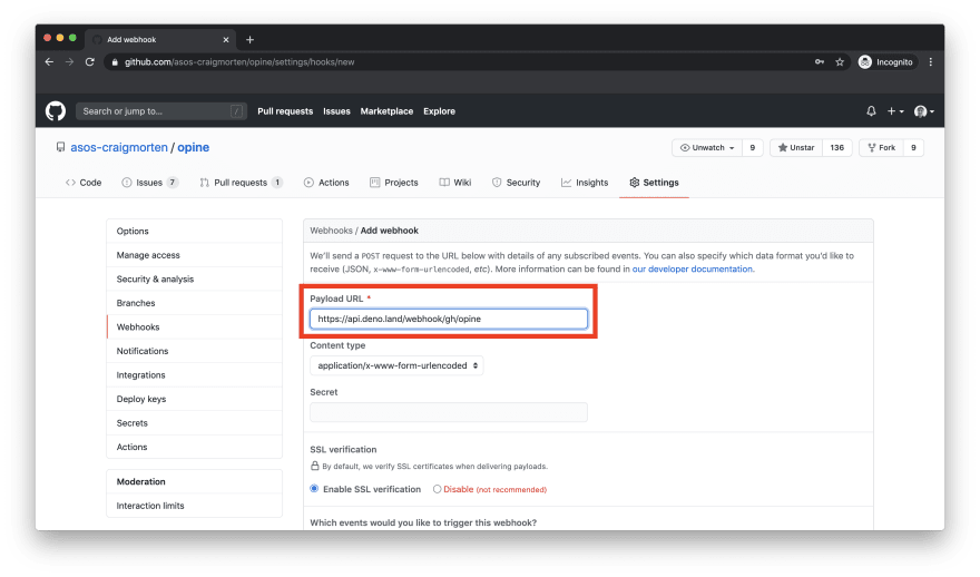 New webhook page with filled in Payload URL textbox