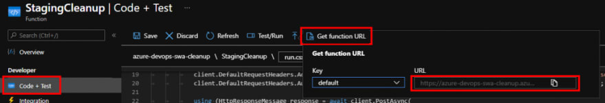 getting function URL from Portal