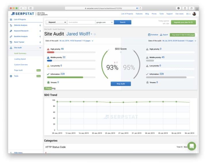 Screenshot of Serpstat Site Audit