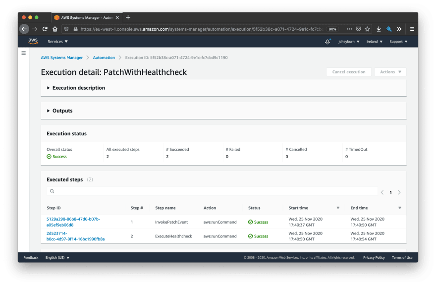 A screenshot of a successful automation document PatchWithHealthcheck - both patching and healthcheck run command steps are successful