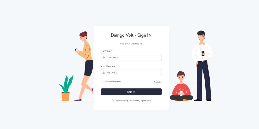 Django Volt Dashboard - Login Page.