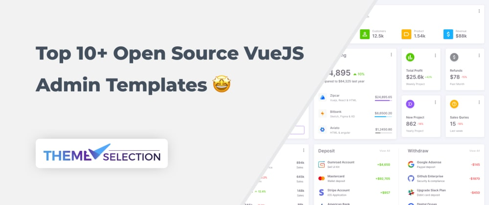 Cover image for Top 10+ Open Source VueJS Admin Templates 2021🤩