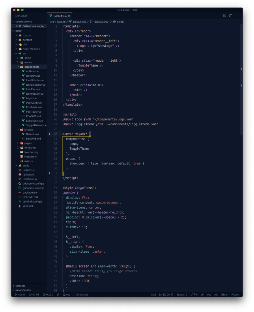 A Vue.js file with the overnight slumber italics theme active