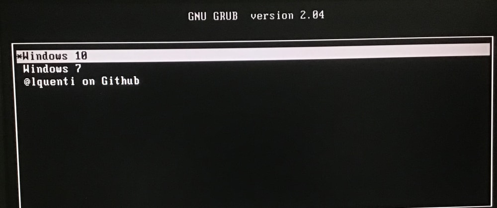 Cover image for Using Grub without Linux for Windows 7/10 Dual Boot Configuration