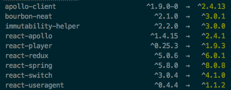 sample output from npm-check-updates