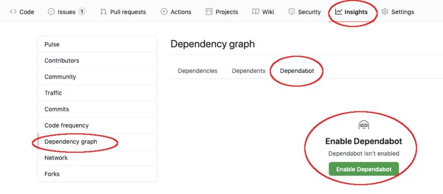 Screenshot of Dependabot Settings