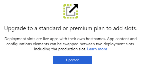 Azure Deployment slots are only available in paid plans.