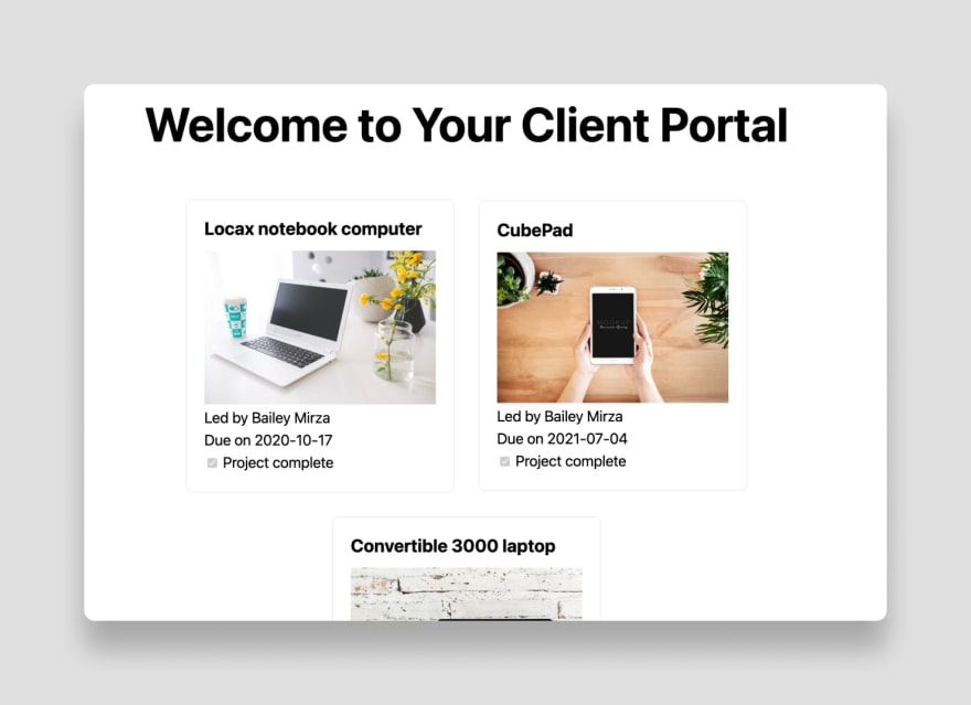 The final client portal built on Airtable with Sync Inc