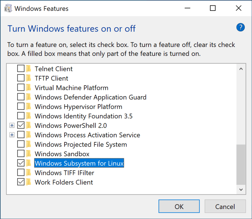 Enable WSL Windows feature