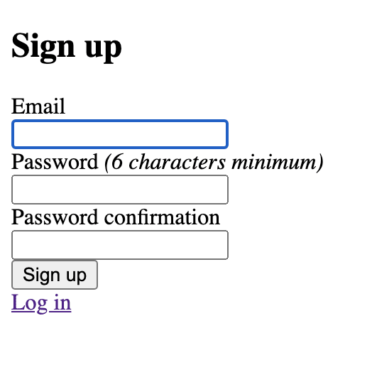 Devise sign up page with no CSS