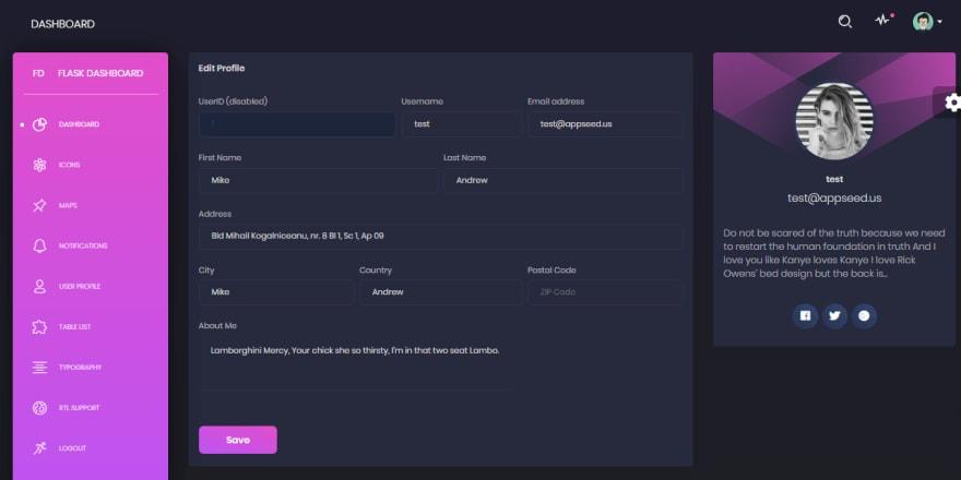 Admin Dashboard - Black Design, user profile page.