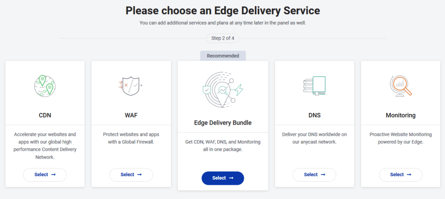 StackPath control panel page showing various edge delivery services