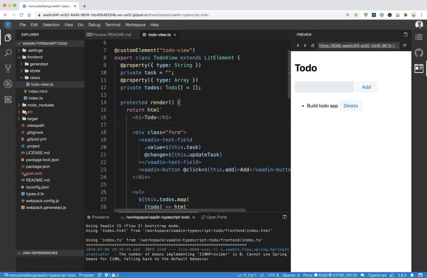 Vaadin TypeScript app running in GitPod, an online IDE
