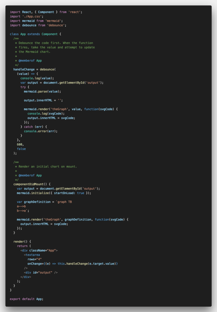 Updated CRA App.js file