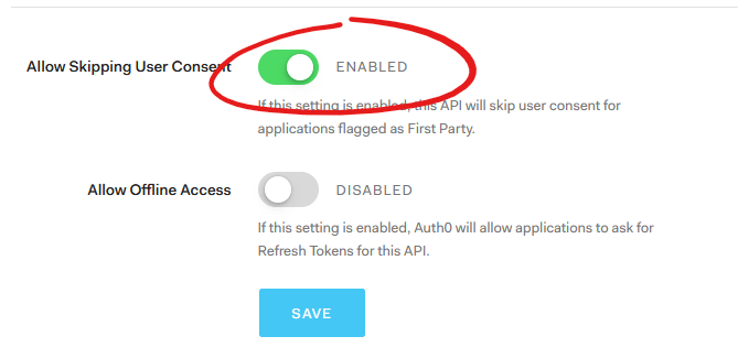 Allow Skipping User Consent flag enabled