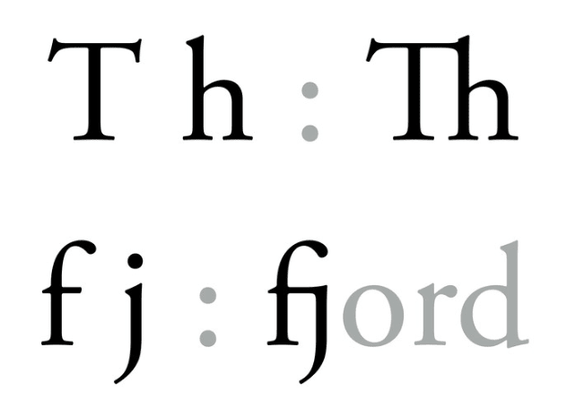 "ligatures with ""t"" and ""h"" as well as ""f"" and ""j"""