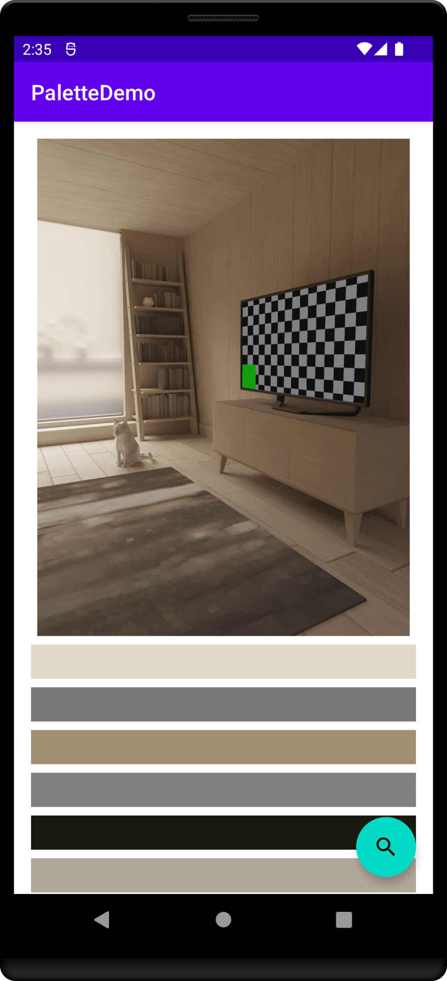 PaletteDemo showing the selected image and significant colors