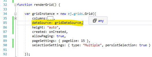 Assign the DataManager instance to the grid's dataSource property