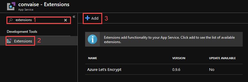 Screenshot of the App Service extensions menu