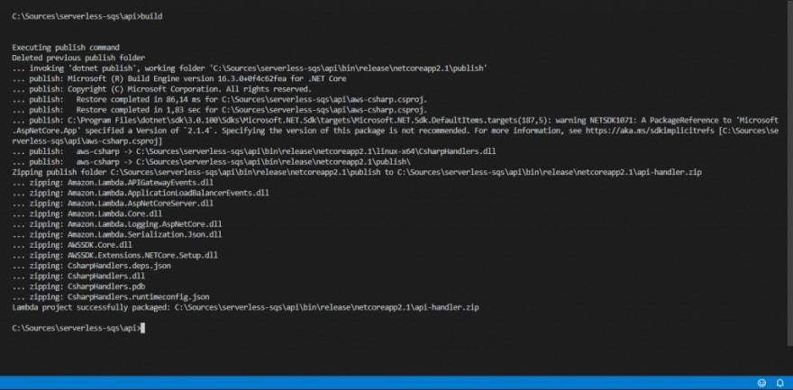 Serverless API build output