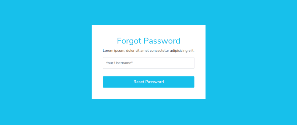 Cover image for Reset Password Form In Bootstrap