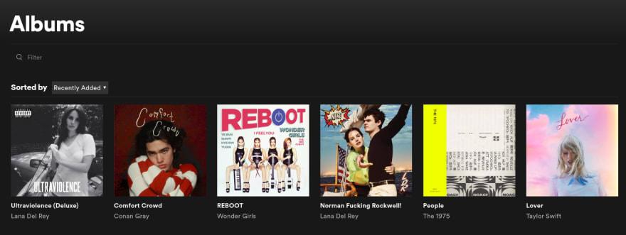 Screenshot de álbuns no Spotify