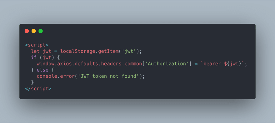 Screenshot of code showing a Vue template using JWTs